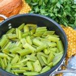braised celery in a black skillet