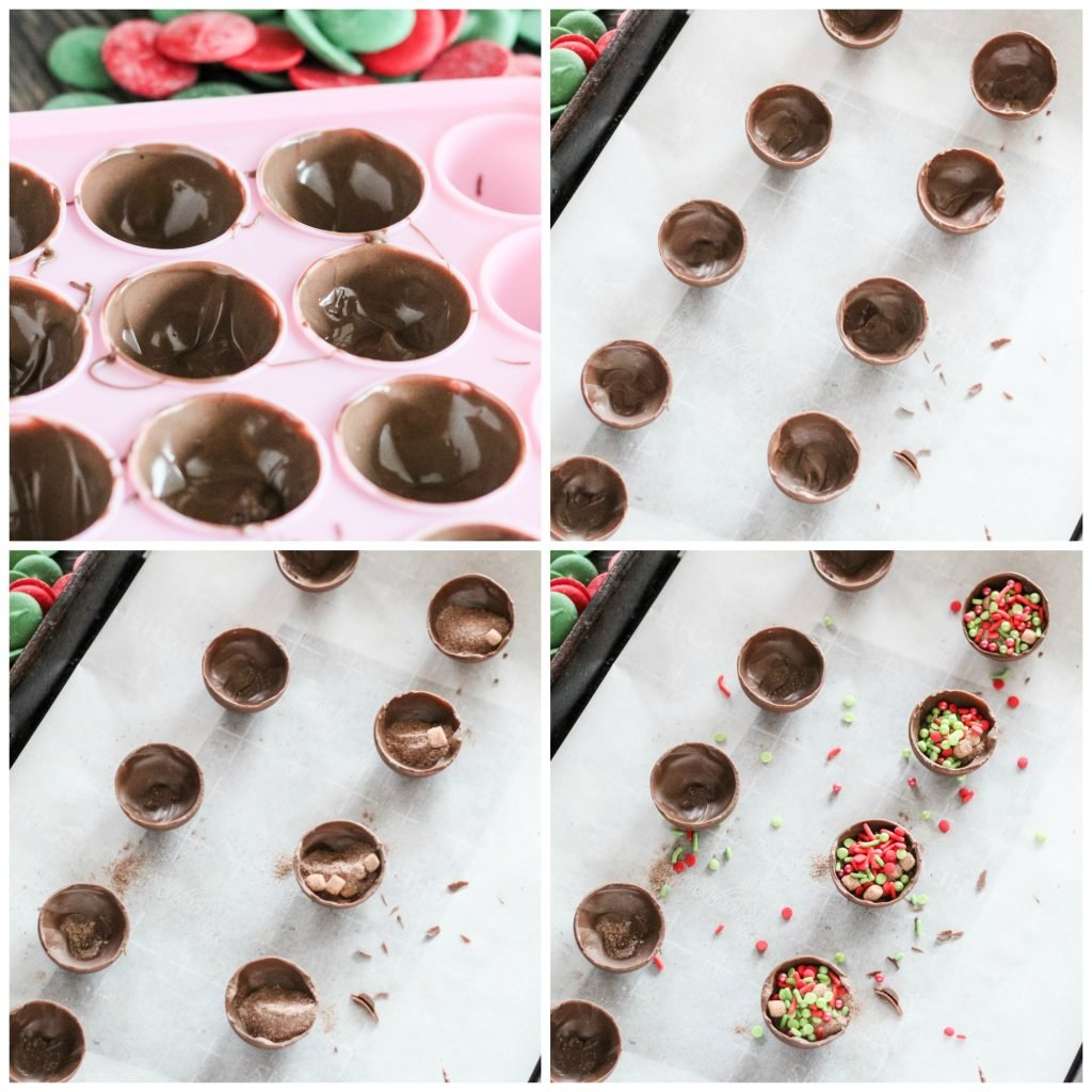 a four image collage showing how to make hot cocoa bombs