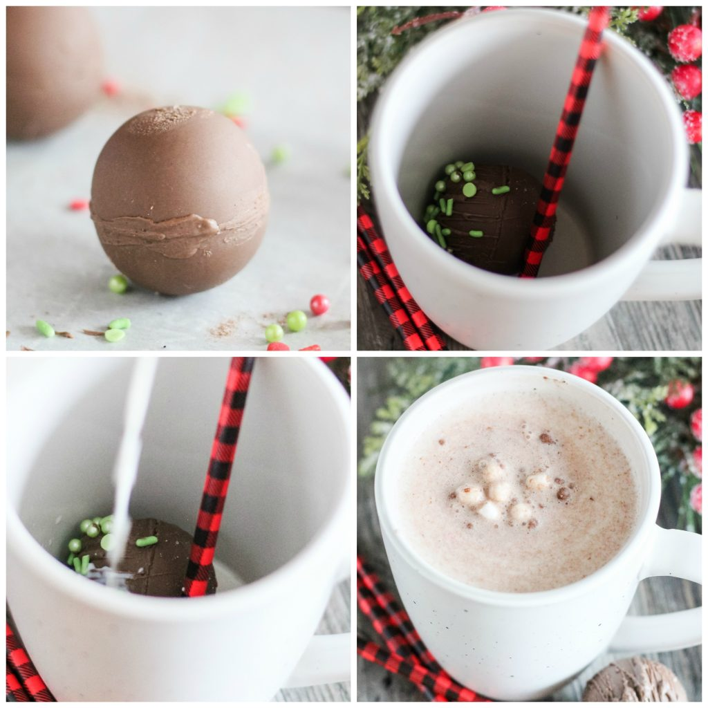 a four image collage showing hot cocoa bombs being added to a mug and blooming when poured milk's added into a white mug