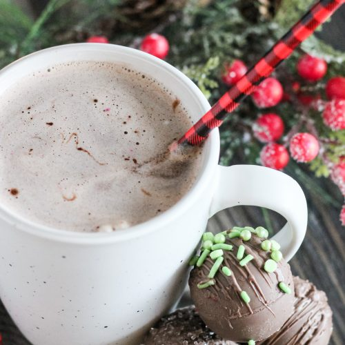 a mug of warm cocoa made from homemade hot cocoa bombs shown at the base of the cup with Christmas greenery in the background