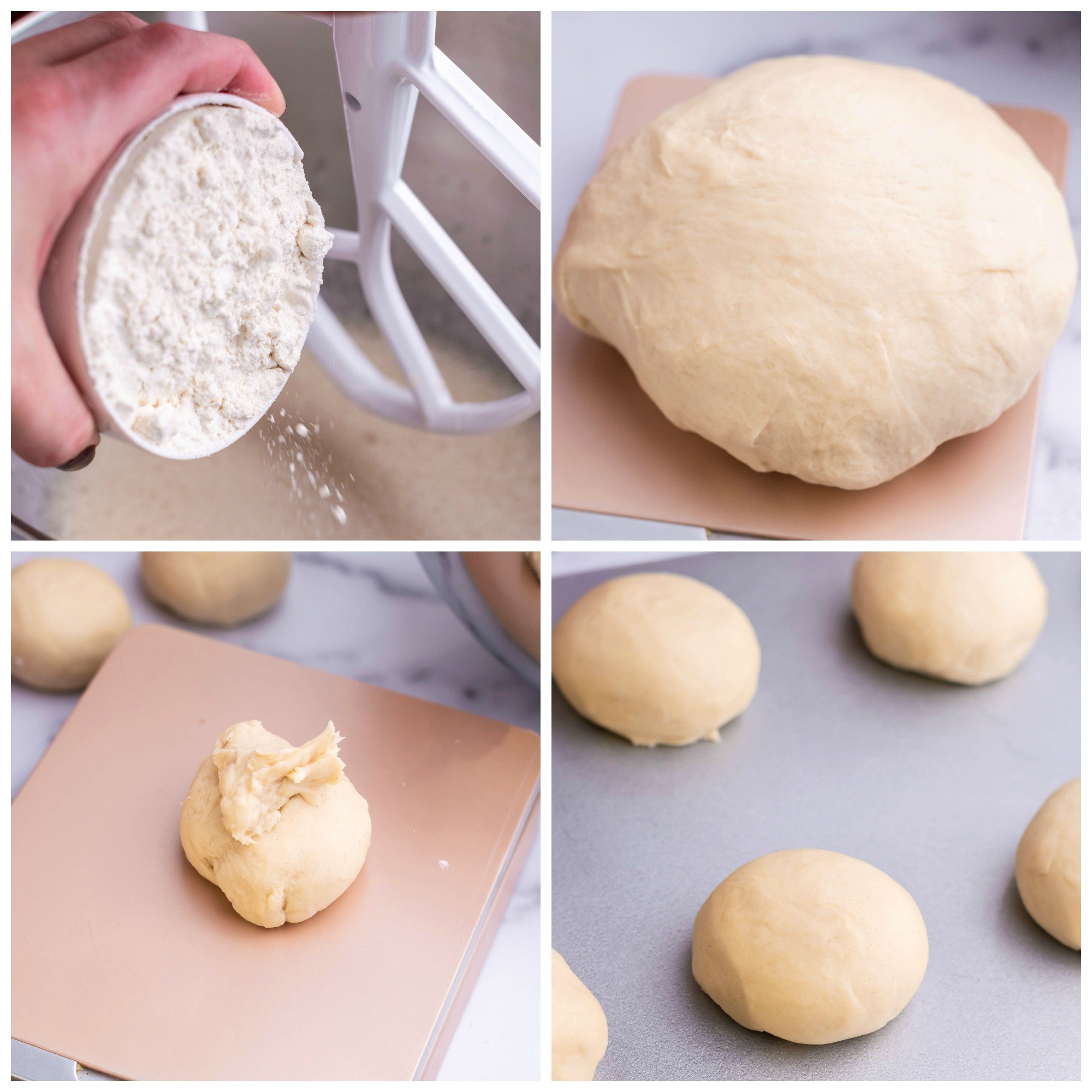 a four image collage of the in process images for forming homemade hamburger bun dough