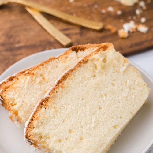 slices of eggnog pound cake arranged on a white plate