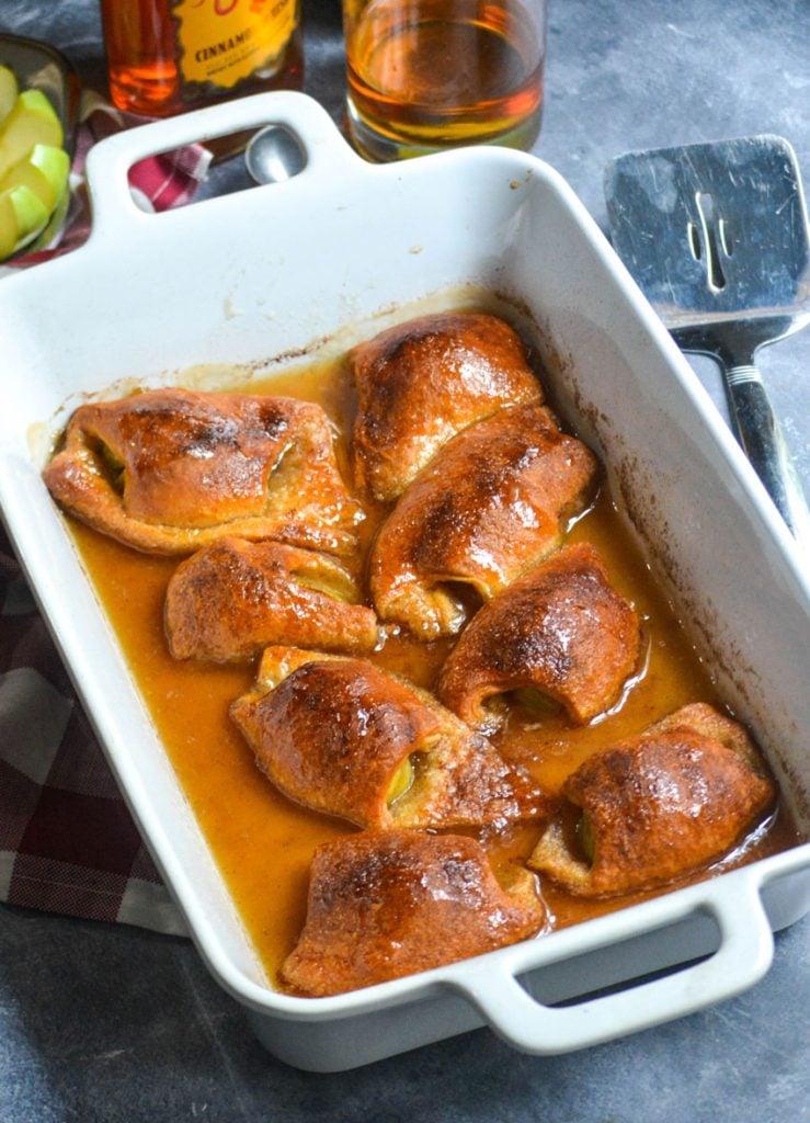 fireball whiskey glazed dumplings shown in a rectangular white baking dish