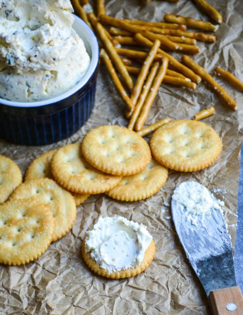 homemade boursin cheese spread on a cracker