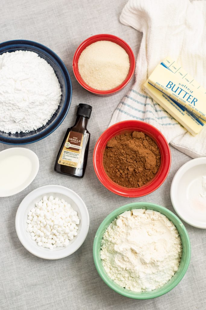 ingredient shot for hot chocolate cookies
