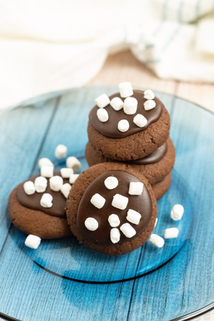 hot chocolate cookies stacked on a blue plate