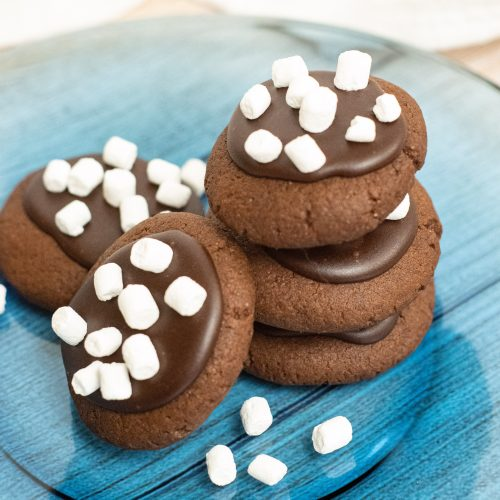 hot chocolate cookie stacked on a blue plate