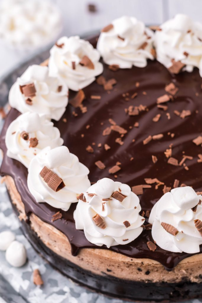 hot chocolate cheese cake on a metal cake stand