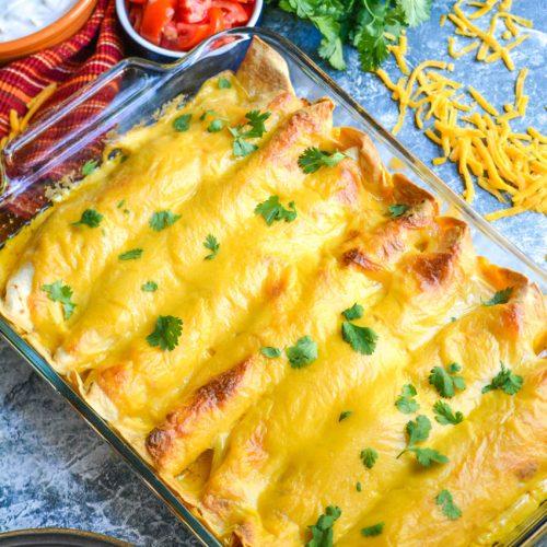 "cheesy pulled pork enchiladas in a 9x13"" baking dish"
