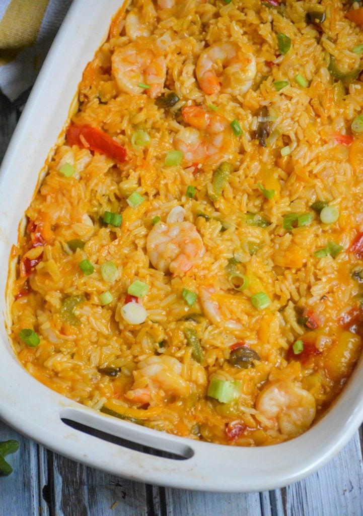 shrimp & rice casserole shown in a 2 quart white casserole dish
