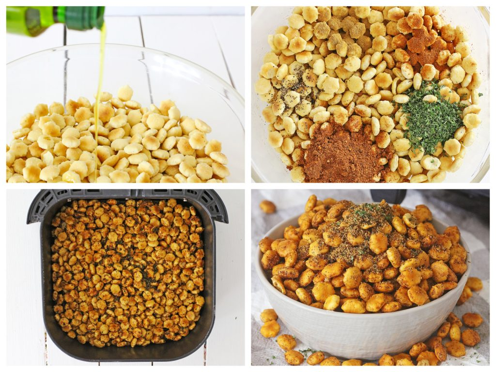 4 image collage showing step by step photos of air fryer taco seasoned oyster crackers