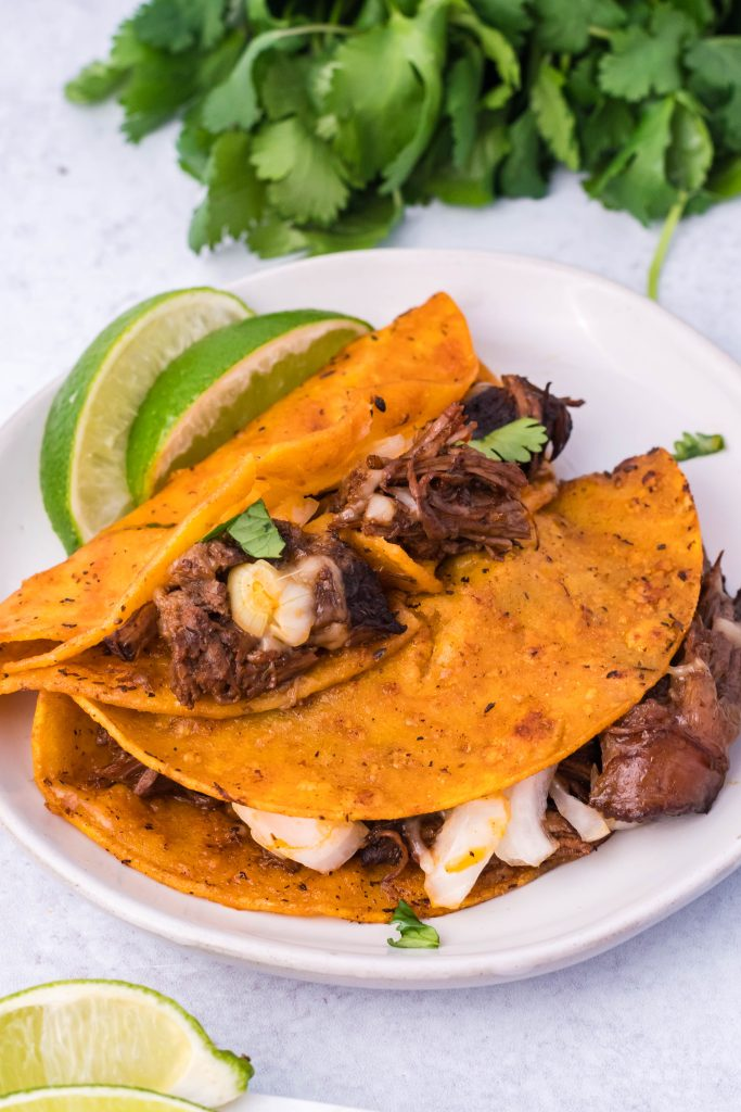 birria tacos shown served on a white plate with fresh lime wedges on the side