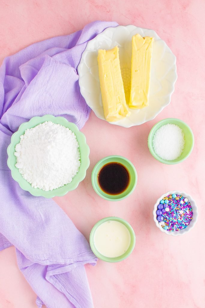 an overhead shot showing all the ingredients needed for a batch of cake decorating frosting