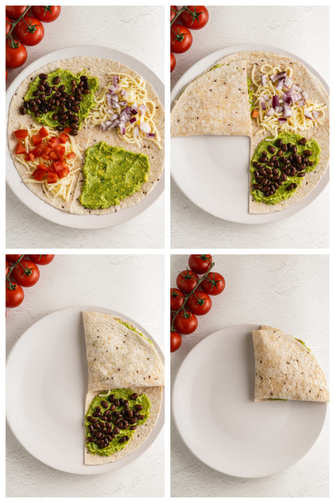 a four image collage showing the steps to make a quartered folded quesadilla