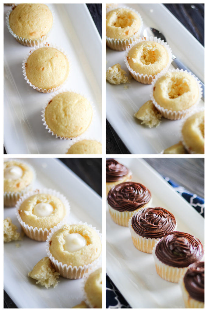 a four image collage showing the steps for creating a cavity and adding the filling and frosting to boston cream pie cupcakes