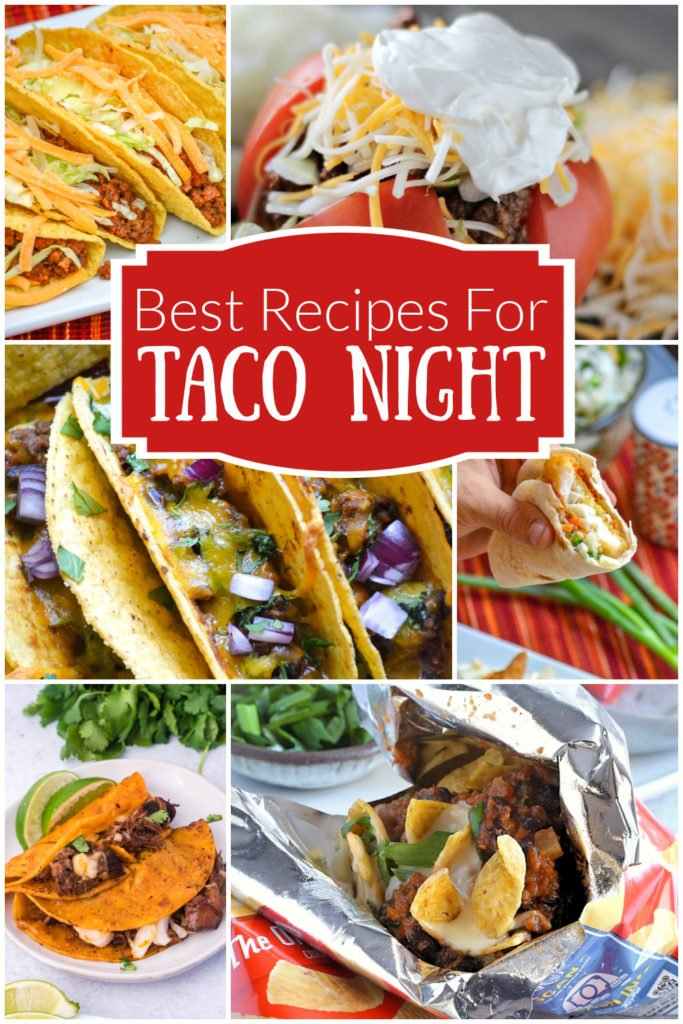 a image collage showing a variety of pictures of various tacos for a taco night recipe roundup