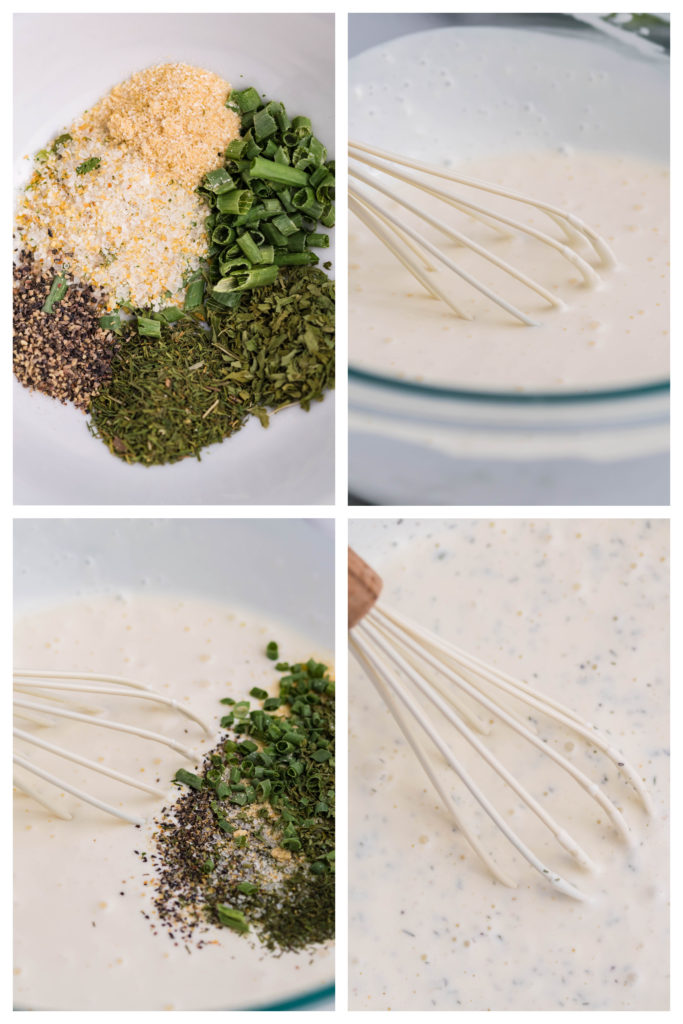 a four image collage showing the seasoning blend and ranch dressing being combined step by step
