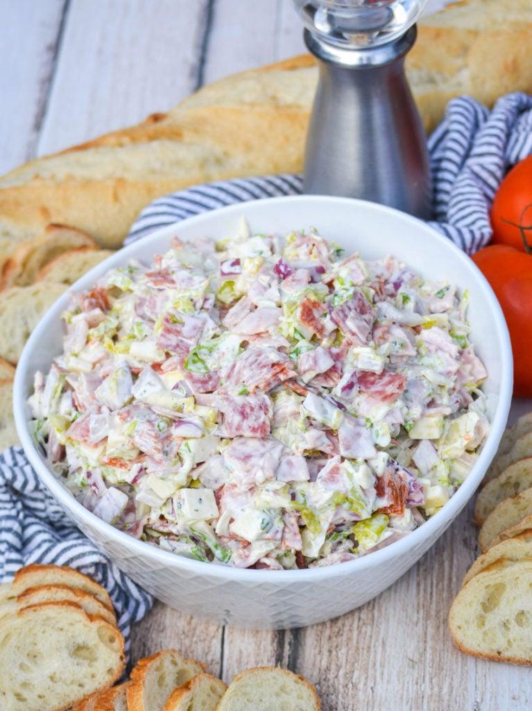 Italian hoagie dip served in a white bowl