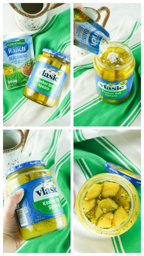 a four image collage showing how to make viral TikTok ranch pickles