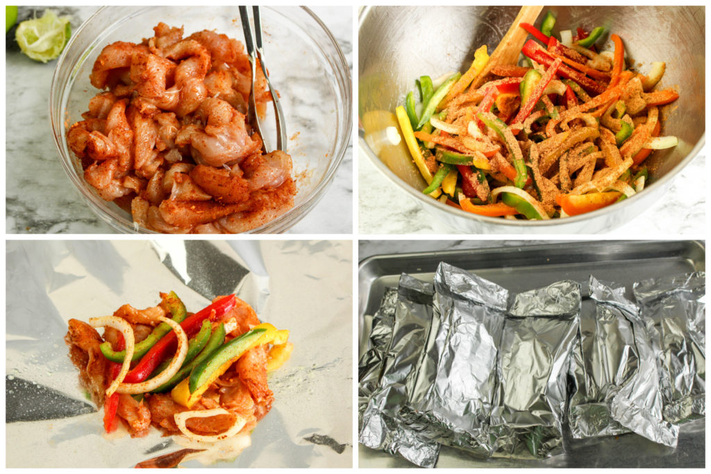 four image collage showing the steps to assembling grilled chicken fajita foil packets