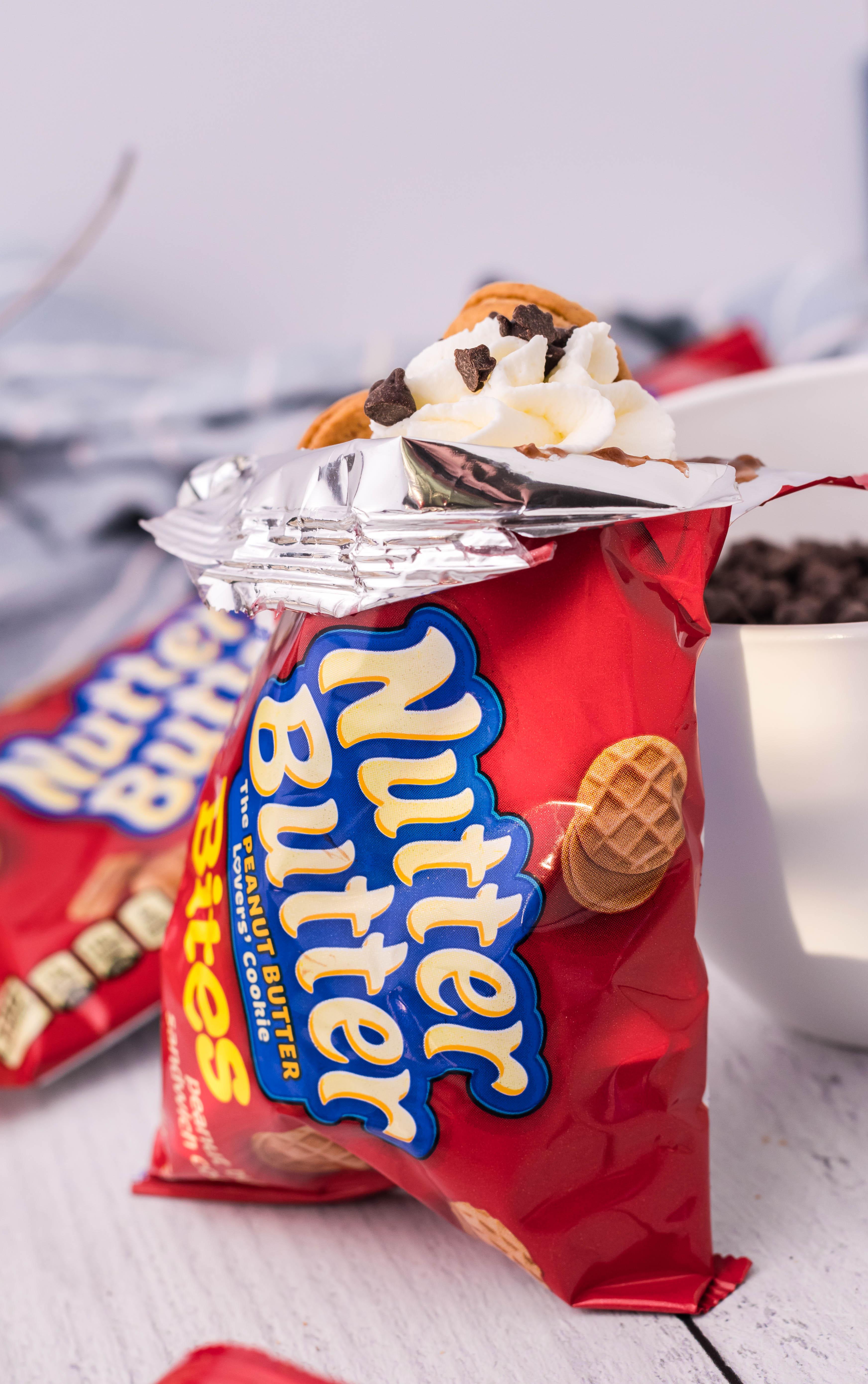 a peanut butter fluffernutter walking dessert in a mini nutter butter snack bag