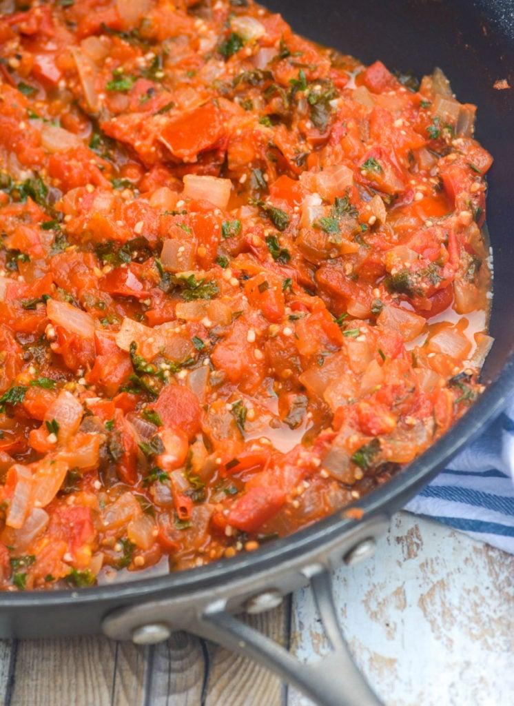 abruzzi pasta rustic tomato sauce in a black skillet