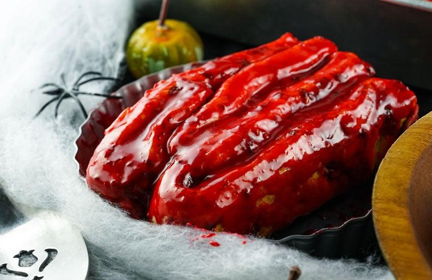 blood & guts cinnamon rolls served on a silver platter