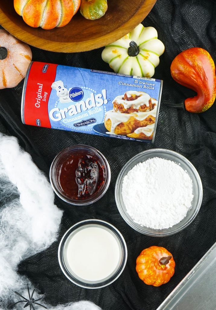 overhead shot showing the ingredients needed to make a batch of blood & guts cinnamon rolls