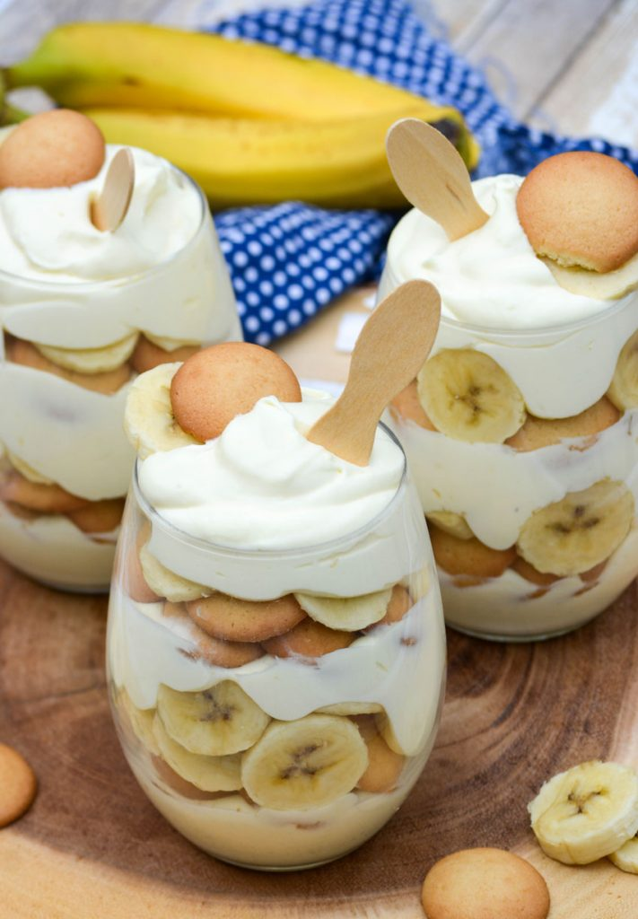 three stemless wine glasses filled with magnolia bakery's banana pudding recipe